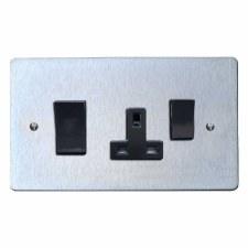 Victorian Socket & Cooker Switch Satin Chrome & Black Trim