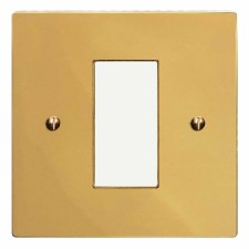 Victorian Plate for Modular Electrical Components 50x25mm Polished Brass Unlacquered