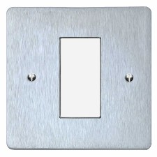 Victorian Plate for Modular Electrical Components 50x25mm Satin Chrome