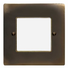 Victorian Plate for Modular Electrical Components 50x50mm Dark Antique Relief