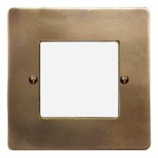 Victorian Plate for Modular Electrical Components 50x50mm Hand Aged Brass