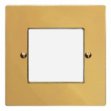 Victorian Plate for Modular Electrical Components 50x50mm Polished Brass Unlacquered
