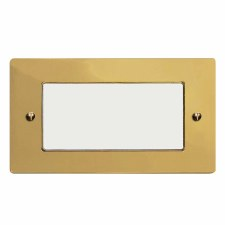 Victorian Plate for Modular Electrical Components 50x100mm Polished Brass Unlacquered