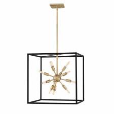 Quintessentiale Aros 12 Light Square Pendant Black & Warm Brass
