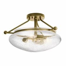Quintessentiale Belle Semi Flush Ceiling Light Brushed Natural Brass