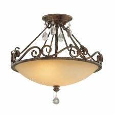 Quintessentiale Chateau Semi Flush Ceiling Light Mocha Bronze