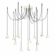 Quintessentiale Nula 12 Light Cluster Pendant Shell White & Luxe Gold