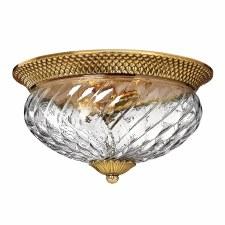 Quintessentiale Plantation 3 Light Flush Ceiling Light Burnished Brass