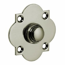 Croft Quatrefoil Door Bell Push 1915 Polished Nickel