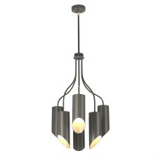 Elstead Quinto 6 Light Chandelier Grey & Polished Nickel