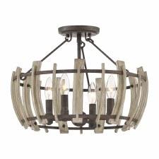 Elstead Wood Hollow Semi Flush Ceiling Light