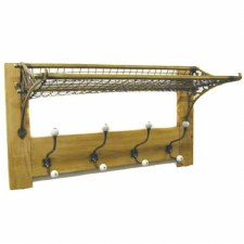 Railway Storage Rack & Hook Board Brass on Oak or Pine