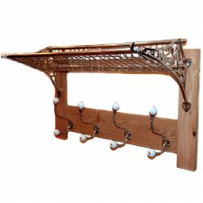 Railway Storage Rack & Hook Board Nickel & Oak