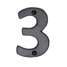 Heritage Numerals 3 FB351 Black Iron Rustic