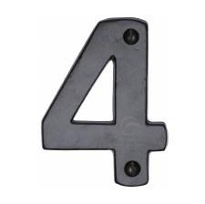 Heritage Numerals 4 FB351 Black Iron Rustic