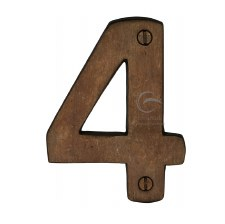 Heritage Numerals 4 RBL351 Solid Rustic Bronze