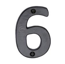 Heritage Numerals 6 FB351 Black Iron Rustic