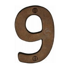 Heritage Numerals 9 RBL351 Solid Rustic Bronze