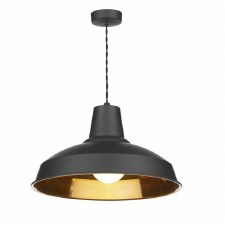 David Hunt REC0154 Reclamation Ceiling Pendant Light Black with Copper Inner