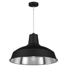 David Hunt REC0121 Reclamation Ceiling Pendant Light Blackwith Chrome Inner
