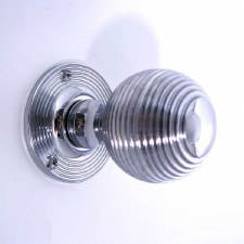 Reeded Ball Door Knobs Polished Chrome