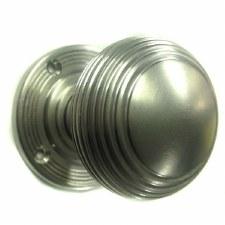 Aston Reeded Bun Door Knobs Satin Nickel 57mm