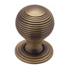 Heritage Reeded Cabinet Knob V973 32 Antique Brass
