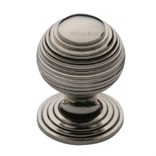 Heritage Reeded Cabinet Knob V973 32 Polished Nickel