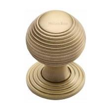 Heritage Reeded Cabinet Knob V973 32 Satin Brass