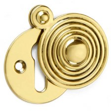 Croft Round Reeded Escutcheon 4565 Polished Brass Unlacquered