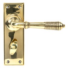 From The Anvil Reeded Lever Bathroom Set Aged Brass