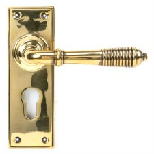 From The Anvil Reeded Lever Euro Set Aged Brass