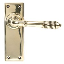 From The Anvil Reeded Lever Latch Set Aged Brass