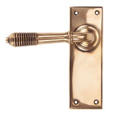 From The Anvil Reeded Lever Latch Set Polished Bronze