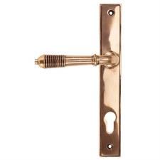 From The Anvil Reeded Slimline Sprung Lever Espag. Lock Set Polished Bronze