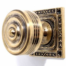 Regency Door Knobs Square Rose Renovated Brass