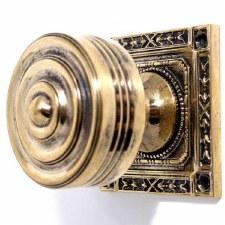 Regency Door Knobs Square Rose Renovated Brass
