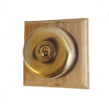 Round Dolly Light Switch 1 Gang Renovated Brass (Black Base)