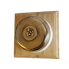 Round Dolly Light Switch 1 Gang Renovated Brass (White Base)