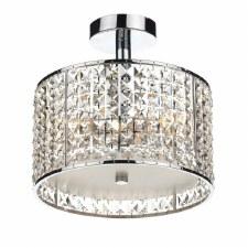 Rhodes 3 Light Semi Flush Bathroom Ceiling Light Glass & Chrome