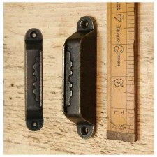 "Rim Lock Keep/Staple 4"" Waxed Iron"