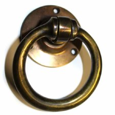 Ring Handle on Round Rose Hand Aged Brass
