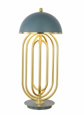 The Ronda Table Lampe No.1805 Brass & Blue