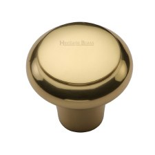 Heritage Flat Round Knob C3990 32mm Polished Brass