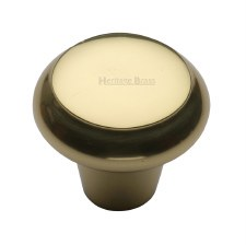 Heritage Flat Round Knob C3990 38mm Polished Brass