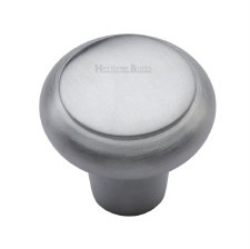 Heritage Flat Round Knob C3990 32mm Satin Chrome