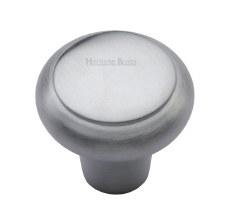 Heritage Flat Round Knob C3990 32mm Satin Chrome