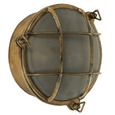 Round Large Ships Bulkhead Outdoor Light, Light Antique Brass