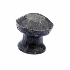 Hand Forged Round Rustic Cupboard Door Knob Beeswax
