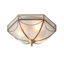Interiors 1900 Russel Flush Ceiling Light Antique Brass